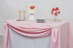 Wedding Dessert Table Inspiration with Couture Table - LinenTablecloth Pink Tablecloth, Fitted Tablecloths, Tablecloth Ideas, Cake Table Decorations, Wedding Decorations, Wedding Ideas, Decorating Tables, Wedding Tables, Suppers