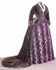 1870 bustle Purple Reception Gown