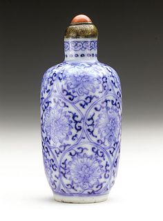Snuff Bottle (Biyanhu) with Scrolling Lotus, China, Late Qing dynasty, about 1800-1911, Porcelain with blue under clear glaze, coral mounted metal stopper