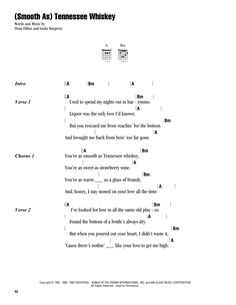 (Smooth As) Tennessee Whiskey Sheet Music Guitar Chords And Lyrics, Easy Guitar Songs, Guitar Chords For Songs, Guitar Chord Chart, Guitar Sheet Music, Ukulele Chords, Uke Songs, Learn Bass Guitar, Bass Guitar Lessons
