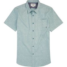 Billabong Unisex Metric Short Sleeve Woven Shirt ($55) ❤ liked on Polyvore featuring tops, green slate, woven tops, short sleeve shirts, all-over print shirts, short sleeve button up shirts, unisex tops and button up shirts