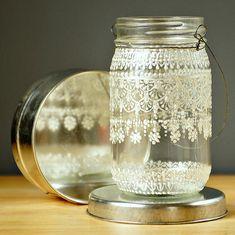 Ручная роспись Мейсон Jar марокканских фонарей, кружево дизайна White Pearl - на Crystal Clear стекла