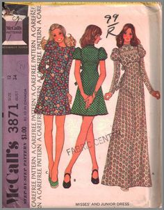 Pretty sure this was my first maxi dress. VINTAGE Misses Dress Three Views McCall's 3871 Mini-skirts Granny Dress Made this in corderoy, mini, long sleeves. Vintage Dress Patterns, Clothing Patterns, Vintage Dresses, Vintage Outfits, 70s Fashion, Vintage Fashion, 1970 Style, Miss Dress, Retro Pattern