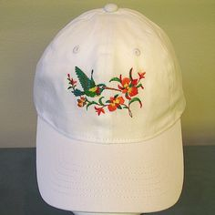 fe26c19933f Hummingbird Embroidered on a White Baseball Cap. Hummingbird and Flowers on  a Baseball Cap