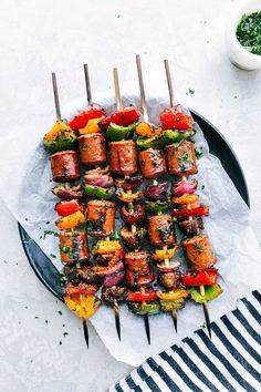 Vegetable and Sausage Kebabs. 10 Wholesome and Healthy Kebab Recipes Sausage Kabobs, Veggie Sausage, Grilled Sausage, Grilled Turkey, Turkey Sausage, Grilled Chicken, Kabob Recipes, Grilling Recipes, Paleo Recipes