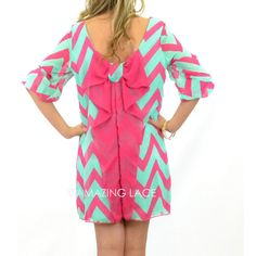 turquoise and pink chevron plus a bow on a dress?! could you ever go wrong with that?