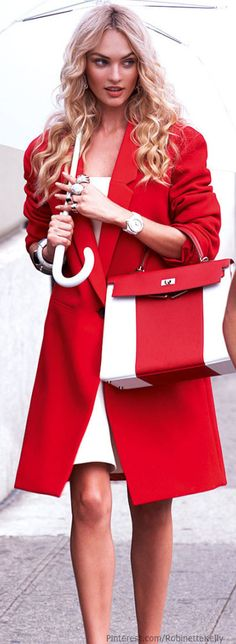 Street Style   Candice Swanepoel   Vogue Mexico, Sept 2013  Matching coat with purse = LOVE