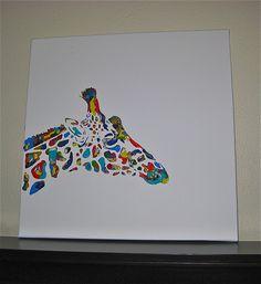 Hand Painted giraffe on canvas