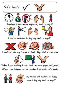 Safe Hands social story by Thinking Tree Resources Co Teaching, Teaching Social Skills, Teaching Special Education, Social Emotional Learning, Behaviour Management, Classroom Management, Social Stories Autism, Behavior Interventions, Nurse Quotes