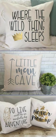 Nursery Decorative Pillow Covers | Toddler Boy's Bedroom Decor Throw Pillows | Little Man Cave | Peter Pan | Where The Wild Thing Sleeps | Adventure Theme | PearLaneComforts on Etsy #nurserydecor #ad #kids #baby