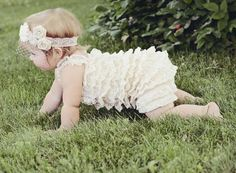 Baby lace Romper  Ivory Girls Rompers  More by PoshPeanutKids, $42.99