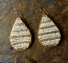 Gold filled tear drop hoop earrings with by VivianRDesigns on Etsy