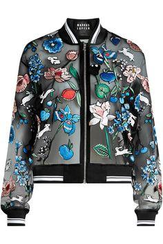 MARKUS LUPFER Embroidered Silk Organza Bomber. #markuslupfer #cloth #