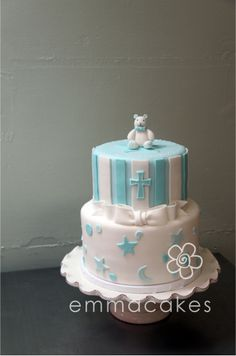 Possible christening cake for Gia and Phoenix need it in pink and blue.