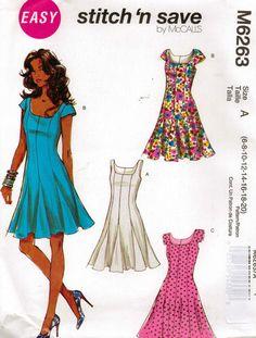 From UK Sewing Dressmaking Pattern Lady's 6-20 Dress #6263 | eBay