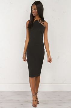 front view Strappy Shoulder Dress in Black