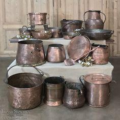 19th Century Hand-Hammered Copper | www.inessa.com Antique Interior, Antique Furniture, Hammered Copper, Antique Copper, Condo Kitchen, Kitchen Remodel, Copper Kitchen, Iron Decor, Log Homes