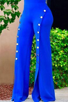 Women Solid Color High Waist Buttons Decor Slit Wide Leg Chiffon Pants - White, S Fashion Pants, Look Fashion, Fashion Outfits, Womens Fashion, Sporty Fashion, Ski Fashion, Winter Fashion, African Fashion Dresses, African Dress