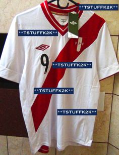 2013/2014 Umbro Peru National Team Home Jersey Match Prepared for Paolo Guerrero #9 Size MEDIUM.....For Sale - New with Tags....Email me with any questions. (FRONT VIEW) Escribenme a mi inbox si quieren comprarla.