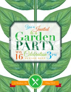 Plant Garden Party Invitation Template royalty-free stock vector art