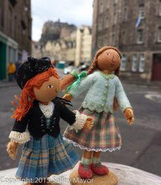 Salley Mavor Wool Felt Dolls. Rosie and Polly in Scotland