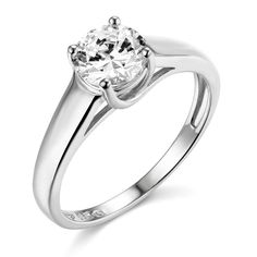 14k White Gold SOLID Wedding Engagement Ring - Size 5. Band Width : 3.5 mm. Center Stone : 1 carat. AAA grade Cubic Zirconia. Will be Shipped Today or Tomorrow. Promptly Packaged with Free Gift Box.