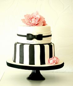 Black Bow Tie & Stripes Cake