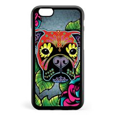 Day of the Dead Boxer Sugar Skull Dog Apple iPhone 6 / iPhone 6s Case Cover ISVF034