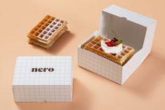 Baking Packaging, Food Box Packaging, Bread Packaging, Dessert Packaging, Food Packaging Design, Waffle Shop, Waffle Bar, Cake Branding, Logo Branding