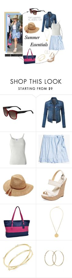 """Reese Witherspoon: Summer Essentials"" by visiondirect ❤ liked on Polyvore featuring Karl Lagerfeld, LE3NO, B. Ella, Madewell, Scala, Schutz, Dasein, Givenchy, Nadri and Pernille Corydon"