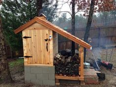 Check out this amazing Cedar smokehouse. From : Smoking Meat Forum user Nick from Texas Photo 1 / 6 Outdoor Projects, Home Projects, Pallet Building, Firewood Shed, Build Your Own Shed, Survival, Sustainable Farming, Greenhouse Plans, Diy Fire Pit