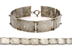 Greek Islands Bracelet, Antique 1920s Jewelry, 1000 Silver Bracelet, Pontikonissi Corfu Islet, Rhodes Island Bracelet, Colossus of Rhodes, Fallow Deer, Vintage Greek Jewelry, Nautical Silver Bracelet, Pure Fine Sterling Silver, Antique European Souvenir, Mediterranean bracelet,
