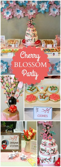 Love this Japanese cherry blossom birthday party! See more party ideas at CatchMyParty.com!