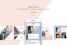 MALINA Social Media Pack & 20 Pattern designed by AgataCreate. the global community for designers and creative professionals. Social Media Template, Social Media Design, Picture Boxes, Branding, For Facebook, Facebook Instagram, Corporate Design, Business Brochure, Digital Media