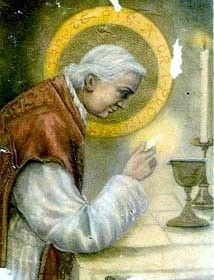 """Pope St. Piux X - 20th Century Pope - Put into place liturgical reforms including an earlier age for receiving Communion. Encouraged the faithful to read the bible. His will read, """"I was born poor; I lived poor; I wish to die poor."""" St. Bernard, help me to embrace a poverty of spirit & a humility that draw me closer to God. My my love for & reliance upon the Eucharist grow & my trust in God's will be perfected today and always."""