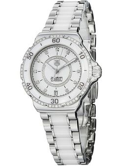 Tag Heuer WAU2213.BA0861 Watches,Tag Heuer Women's White Dial Stainless Steel with Ceramic Links, Women's Tag Heuer Automatic Watches