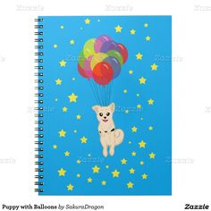 Puppy with Balloons Spiral Notebook #dogs #puppy #party #balloons #birthday