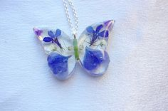 Real Flower Pendant Real Flower Necklace Blue by PassionOfLight…