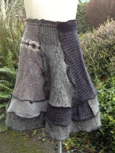 Felted Recycled Wool Skirt Large to XL from Old Sweaters in shades of Grey, Navy, Black. $46.00, via Etsy.