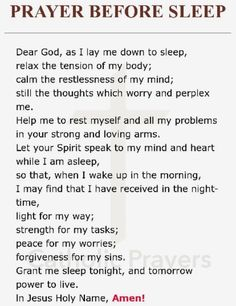 Prayer Before Sleep prayer Prayer Scriptures, Bible Prayers, Faith Prayer, Catholic Prayers, God Prayer, Prayer Quotes, Night Prayer Catholic, Short Prayers, Angel Prayers