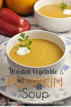 roasted vegetable and pumpkin soup @yourhomebasedmom.com  #soup,#pumpkin,#recipes