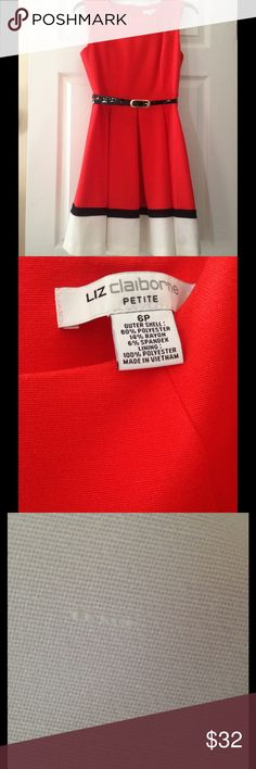 Liz Claiborne Color block Fit and Flare Dress Beautiful Orange Red Color. Pleated A-line Fit and Flare Dress With Black Belt. It does have a small imperfection in the material at the bottom of the dress but is unnoticeable. Other wise it is in new condition and has never been worn. Offers welcomed 😊 Liz Claiborne Dresses