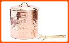 Old Dutch International Hammered Decor Ice Bucket with Liner and Tongs, 3-Quart, Copper - Bar equipment (*Amazon Partner-Link)