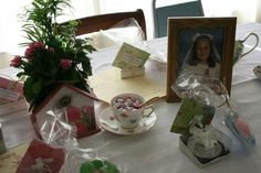 We put pink and white m&m' s in a teacup on every table.