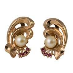 Retro 14K Rose Gold Ruby and Pearl Clip Bow Earrings, c. 1940s. $495