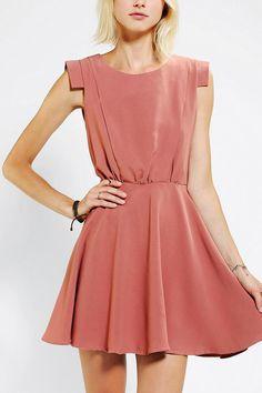 Pins and Needles Silky Shoulder Detail Dress #urbanoutfitters // Light pink summery silk dress