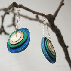 Fashion urban dangle earrings from recycled layered por missismiss