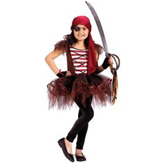 Pirate ballerina! Take the tutu Desi wore to fairy worlds, add a striped shirt and a lace up vest, some leggings, boots and a sword... voila!