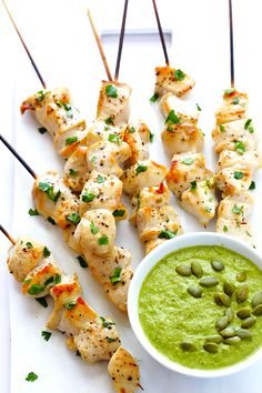 Chicken with Pepita-Tomatillo Sauce | gimmesomeoven.com