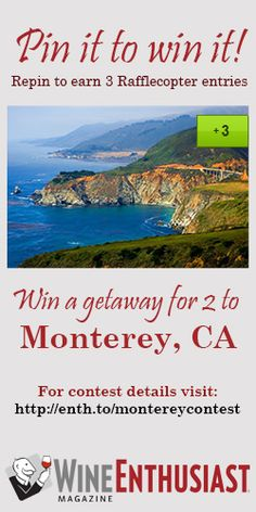 Win a 3-day/2-night trip for two to Monterey, CA with accommodations at Hotel Pacific including continental breakfast and afternoon refreshments, VIP tasting and tour at Bernarus Winery, VIP tasting and tour at Paraiso Vineyards and $100 Jacks Restaurant & Lounge gift certificate.